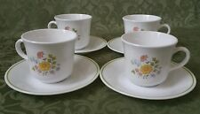 4 Sets (8 pcs) Corning Ware Corelle Spring Meadow Cups & Saucers C&S