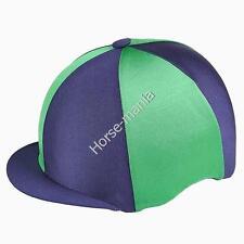 Navy & Green Capz Equitazione Cappello seta Copertura per casco da fantino TAPPI Taglia Unica