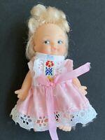 Vintage 1965 Uneeda Pee Wees Small Mini Vinyl Doll Pink Dress Baby Girl Blonde
