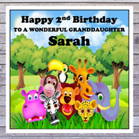 KIDS CUTE ANIMAL BIRTHDAY CARDS - personalised with any AGE RELATIONSHIP & NAME
