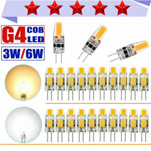 LOT 10/50X G4 LED COB 3W/6W 12V AC/DC Warm/Cold White Light Lamp Bulb Dimmable