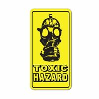 Toxic Hazard Gas Mask Warning Caution Yellow Sign Car Sticker Decal