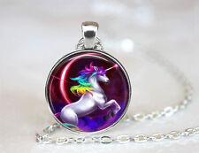 Vintage Cabochon Tibetan silver Glass Chain Pendant Necklace Unicorn