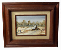 """6"""" Oil Painting Canvas Signed Kathy Grizzle Winter Landscape Country House Art"""