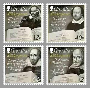 WILLIAM SHAKESPEARE 450th Anniversary MNH FV £3.16 Stamp Set (2014 Gibraltar)