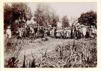 Algérie, Photo de groupe après la chasse  Vintage citrate print.  Tirage citra