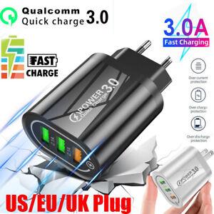 Fast Quick Charge 3 USB Ports Hub Wall Charger Power Adapter US EU UK Plug QC3.0