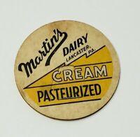 """Vintage Milk Bottle Cap 1-5/8"""" Martin's Dairy Lancaster Pa. Pasteurized Cream F3"""