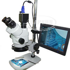 "3.5X-90X Trinocular Zoom Stereo Microscope + 2.0MP VGA Eyepiece Camera + 8"" LCD"