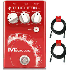 TC Helicon Mic Mechanic 2 Vocal Reverb Delay Pitch Effects Pedal + 20 ft Cables