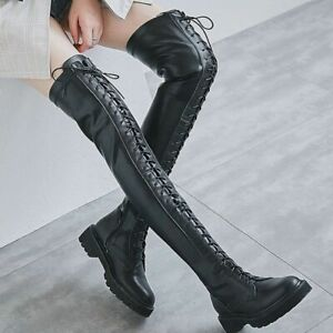 Women Lace Up Thigh High Boots Over the Knee Round Toe Flats Oxfords Party Punk