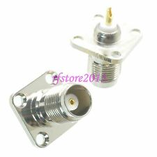 1pce Connector TNC female 4-holes Flange solder Panel mount straight RF COAXIAL
