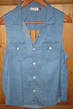 SO Junior's Blouse Top Jean Sleeveless Button Open Back Blue size X Large