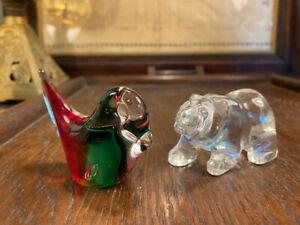 Retro Art Glass Brown Bear & Bird Figurine Paperweights