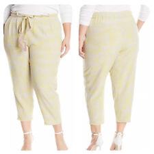 b292002d838 Melissa McCarthy Seven7 Womens Yellow Plus Size Tie-Waist Crop Pants  98 2X  NEW