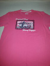 TOMMY HILFIGER MENS LARGE PINK COTTON SHORT SLEEVE TSHIRT BEACH BUGGY SURFBOARD