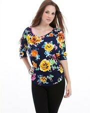 Women Blue Multicolor Summer Flower Blouse Top with Striped Back - Size 3X