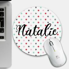 Personalised Spotty Glitter Mouse Mat - Custom Name Pad Office Gifts Christmas