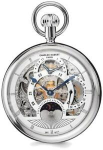 Charles Hubert Stainless Steel Open Face Skeleton Dual Time Pocket Watch