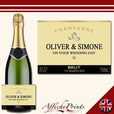 L60 Personalised Champagne Gold Engagement Wedding Brut Bottle Label - Gift!