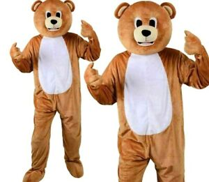 Adult TEDDY BEAR Mascot Fancy Dress Costume Unisex Party Ted Character Plush Big
