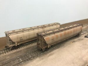 Custom Weathered HO 5660 PD Covered Hoppers Atlas CEFX and BLMA TILX