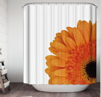 "Orange Gerber Daisy Flower Fabric SHOWER CURTAIN 70"" w/Hooks White Floral"