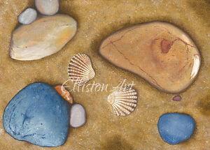 Sea shells Watercolour Seaside Beach Art Yorkshire Print Wall Art Medium A3 size