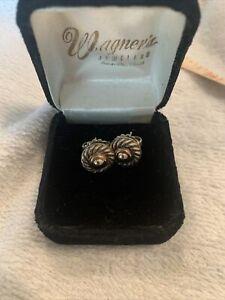 Vtg David Yurman Cable Dome Earrings 14K Yellow Gold & Sterling Silver EUC