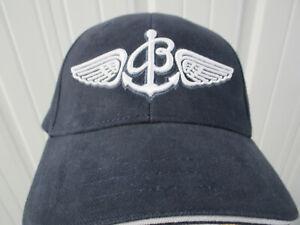 VINTAGE BREITLING SWISS CHRONOGRAPHS SEWN STRAPBACK HAT CAP BLUE WHITE NWOT