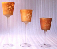 Set of 3 Wine Glass Copper Christmas Snowflake Table Tea Light Candle Holders