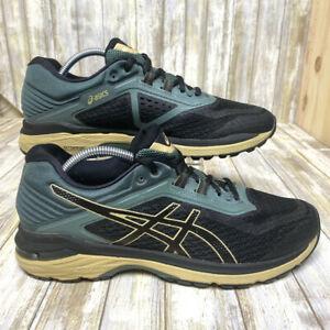 Asics Mens Sz 9.5 GT-2000 Black/Dark Green Trail Running Shoes T8A2N NO INSOLES