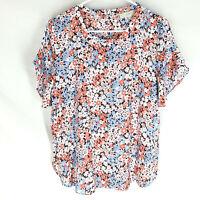 ANN TAYLOR LOFT Popover Blouse Top Size Medium Floral Short Sleeve Womens M