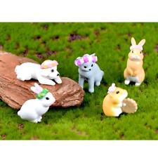 5pcs Miniature Hamster Rabbit Bonsai Figurine Terrarium Garden Ornament
