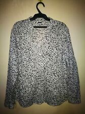 PADDOCK'S FLORAL PRINT RUFFLE NECKLINE LONG SLEEVE TOP TAG SIZE L