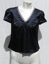 DKNY Donna Karan Navy Blue Stretch Charmeuse Silk Blouse Shirt Top size 2 EUC