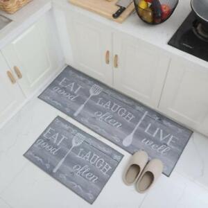 Grey Floor Mat & Runner 2 Pcs Set Of Rubber, Standard With Anti Skid Backing