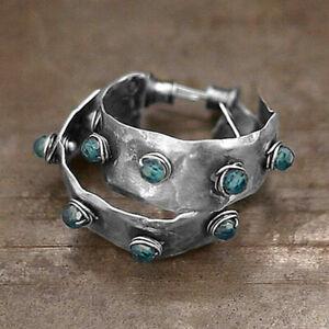 Elegant Boho Hoop Earrings Women 925 Silver Jewelry A Pair set Free Shipping