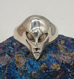 Vintage Silver 925 Alien Ring by The Wildcat Collection. Size U 1/2.