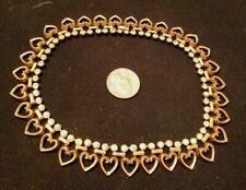 "VTG Trifari Gold Tone Rhinestone Heart Choker Necklace 12"""