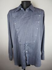 VTG Men's Panhandle Slim Blue Plaid Snap-Button Bib Western Shirt 17 1/2 Rodeo