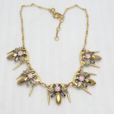 J.Crew women jewelry matte gold antique cut crystal bib sparkly necklace vintage