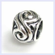 .925 Sterling Silver Flower Round Swirl Focal Bead f/ European Charm Bracelet