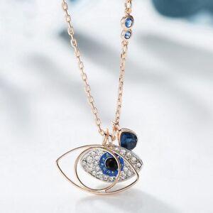 Rose Gold Plated Silver London Blue Topaz Eye of Devil Necklaces Pendants