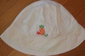 NEW Vtg 2002 GYMBOREE White FRUIT PUNCH Beach Sun HAT w/Bow 18-24 mo 2T 3T NWT