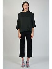 NWT $690 The Row Seloc Cropped Stretch Cotton Straight Leg Pant in Black sz 6