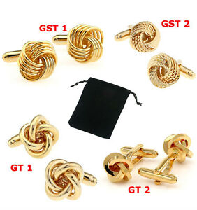 Unisex Gold Twist Knot wedding Party Cuff-links With Free Storage Pouch