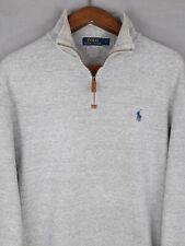 Men's Large Polo Ralph Lauren Grey 1/4 Zip Neck Jumper / Sweater RRP£130