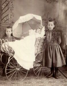 CABINET CARD PHOTO VICTORIAN GIRLS w POST MORTEM? BABY in BEAUTIFUL PRAM  KS