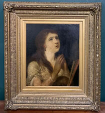 More details for large georgian portrait of a lady oil on board painting in gold gilt frame
